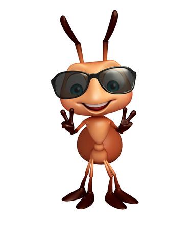 hormiga caricatura: 3d rindió la ilustración de personaje de dibujos animados con gafas de sol de la hormiga