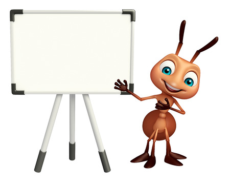 hormiga caricatura: 3d rindió la ilustración de personaje de dibujos animados hormiga con la tarjeta blanca