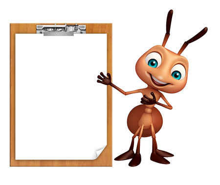 3d rendered illustration of Ant cartoon character with exam pad