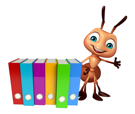 hormiga caricatura: 3d rendered illustration of Ant cartoon character with files