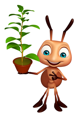 chlorophyll: 3d rendered illustration of Ant cartoon character with plant