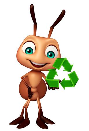 hormiga caricatura: 3d rindió la ilustración de personaje de dibujos animados hormiga con el signo de reciclaje