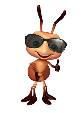 3d rendered illustration of Ant cartoon character with sunglass Stock Photo