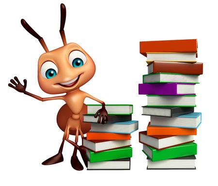 hormiga caricatura: 3d rindió la ilustración de personaje de dibujos animados hormiga con la pila de libros Foto de archivo