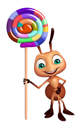 stick bug: 3d rendered illustration of Ant cartoon character with lollypop