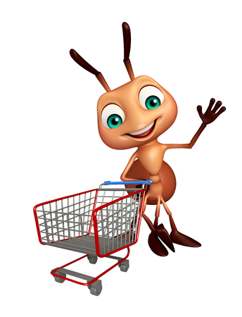 trolly: 3d rendered illustration of Ant cartoon character with trolly