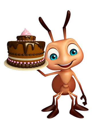 savory: 3d rendered illustration of Ant cartoon character with cake