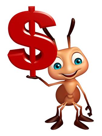 hormiga caricatura: 3d rindi� la ilustraci�n de personaje de dibujos animados con el signo de la hormiga doller