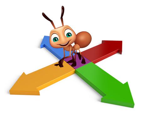hormiga caricatura: 3d rindi� la ilustraci�n de personaje de dibujos animados con la hormiga muestra de la flecha