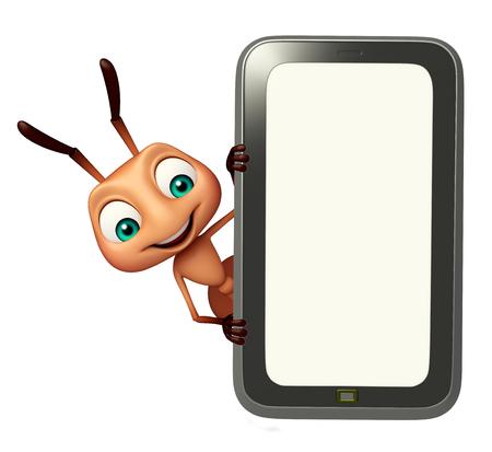 hormiga caricatura: 3d rindió la ilustración de personaje de dibujos animados hormiga con el móvil Foto de archivo