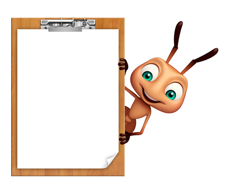 exam: 3d rendered illustration of Ant cartoon character with exam pad