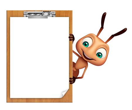 hormiga caricatura: 3d rindió la ilustración de personaje de dibujos animados hormiga con la pista de examen Foto de archivo