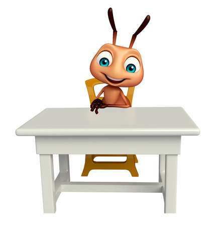 tabletop: 3d rendered illustration of Ant cartoon character with table and chair