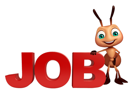 job hunting: 3d rendered illustration of Ant cartoon character with job sign