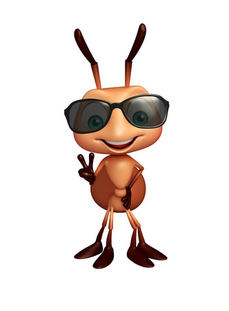 protective eyewear: 3d rendered illustration of Ant cartoon character with sunglass Stock Photo