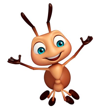 hormiga caricatura: 3d rindió la ilustración de personaje de dibujos animados divertido de la hormiga