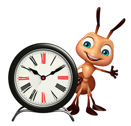 ring up: 3d rendered illustration of Ant cartoon character with clock
