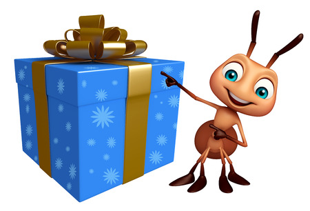christmas present: 3d rendered illustration of Ant cartoon character with gift box Stock Photo