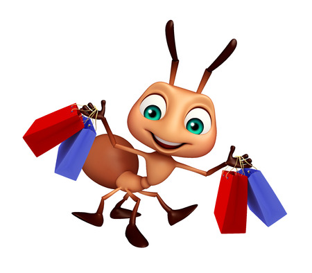 3d rendered illustration of Ant cartoon character with shopping bag