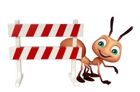 constuction: 3d rendered illustration of Ant cartoon character with baracades
