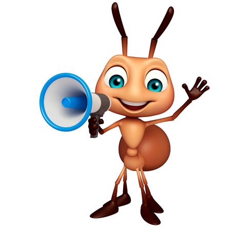 3d rendered illustration of Ant cartoon character with loudspeaker Фото со стока