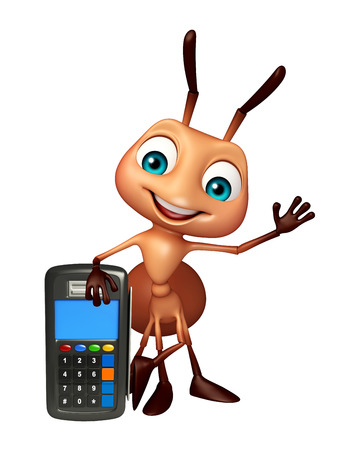 3d rendered illustration of Ant cartoon character with swap machine