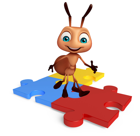 jig saw puzzle: 3d rendered illustration of Ant cartoon character with puzzle