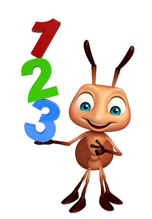 kiddie: 3d rendered illustration of Ant cartoon character with 123 sign Stock Photo