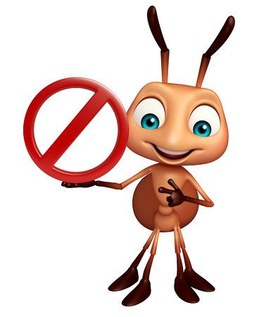 hormiga caricatura: 3d rindi� la ilustraci�n de personaje de dibujos animados hormiga con se�al de stop Foto de archivo