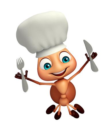 hormiga caricatura: 3d rindió la ilustración de personaje de dibujos animados hormiga con el sombrero de chef y cucharas