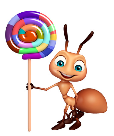 3d rendered illustration of Ant cartoon character with lollypop