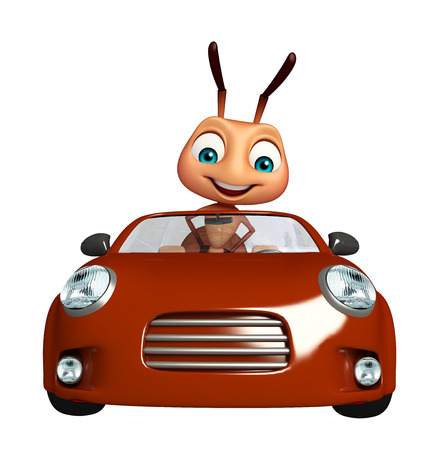 3d rendered illustration of Ant cartoon character with car