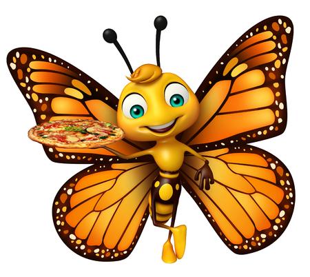 ピザと蝶の漫画のキャラクターの 3 d レンダリングされたイラストレーション 写真素材