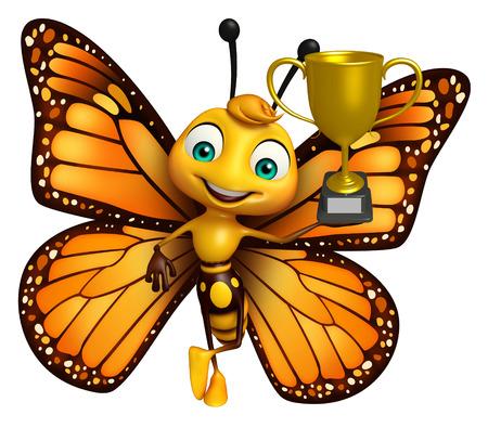 優勝カップと蝶の漫画のキャラクターの 3 d レンダリングされたイラストレーション
