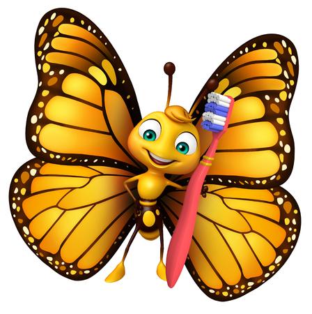 歯ブラシで蝶の漫画のキャラクターの 3 d レンダリングされたイラストレーション