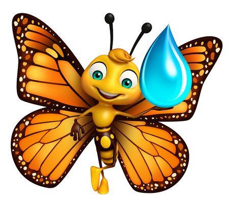 水ドロップと蝶の漫画のキャラクターの 3 d レンダリングされたイラストレーション 写真素材