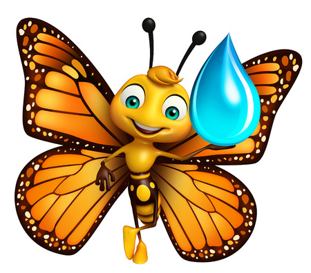 aerials: 3d rendered illustration of Butterfly cartoon character with water drop