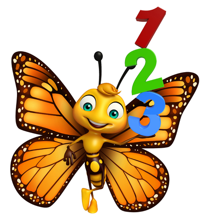kiddie: 3d rendered illustration of Butterfly cartoon character with 123 sign Stock Photo