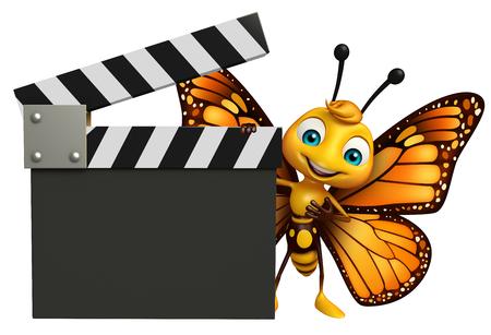 下見板張りの蝶アニメ キャラクターの 3 d レンダリングされたイラストレーション