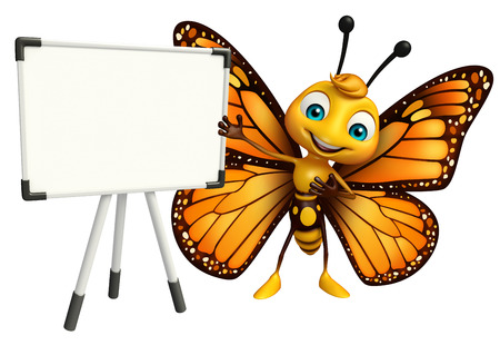 3d butterfly: 3d rendered illustration of Butterfly cartoon character with display  board