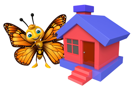 aerials: 3d rendered illustration of Butterfly cartoon character  with home