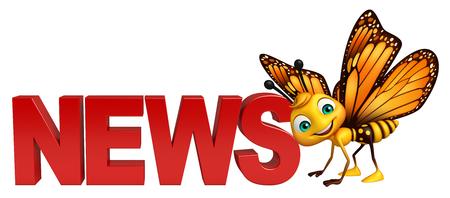 ニュース記号で蝶の漫画のキャラクターの 3 d レンダリングされたイラストレーション