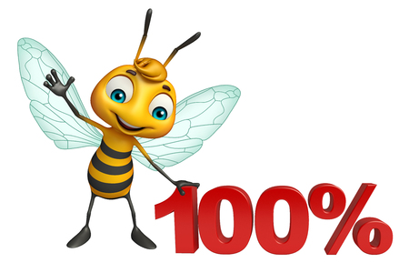 3d rendered illustration of Bee cartoon character with 100% sign Stock Photo
