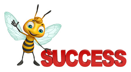 3d rendered illustration of Bee cartoon character with success sign