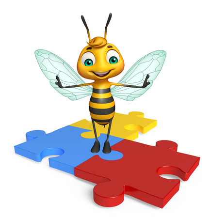 jig saw: 3d rendered illustration of Bee cartoon character with puzzle