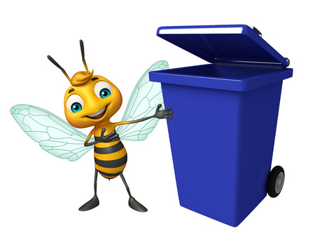 dustbin: 3d rendered illustration of Bee cartoon character with dustbin Stock Photo