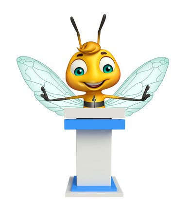 3d rendered illustration of Bee cartoon character with speech stage Stock Photo