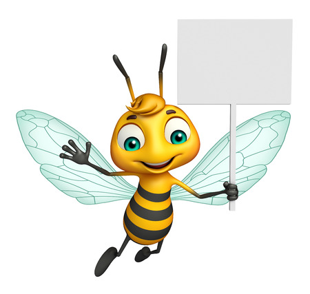 3d rendered illustration of Bee cartoon character with white board Banco de Imagens