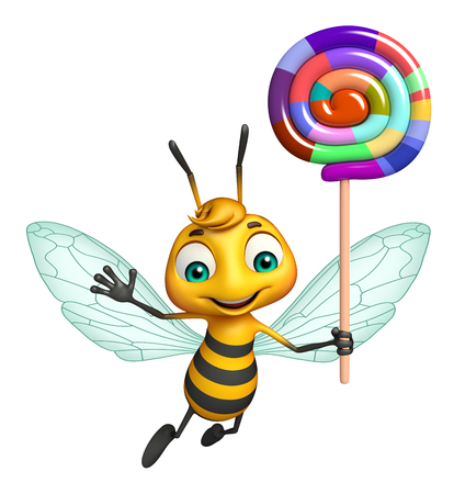 lollypop: 3d rendered illustration of Bee cartoon character with lollypop Stock Photo