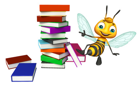 3d rendered illustration of Bee cartoon character with book stack